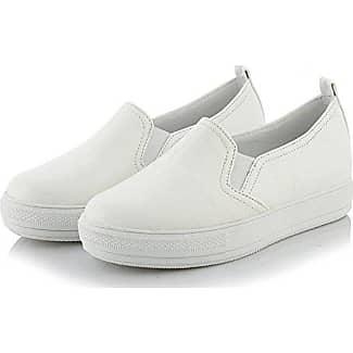 Aisun Damen Fashionable Kunstleder Durchgängiges Plateau Sneakers Weiß 37 EU AvaWvt