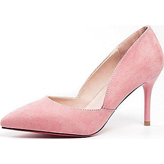 Aisun Damen Asakuchi Pointed Toe Niedrig Absatz Pumps Pink 44 EU 4VEvPcERd