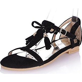 AllhqFashion Damen Mattglasbirne Zehentrenner Sandalen, Aprikosen Farbe, 43