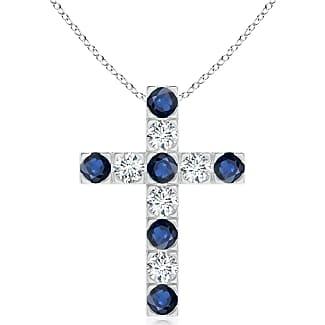 Angara Marquise and Round Blue Sapphire Cross Pendant in 14K White Gold zdpFgBxjn