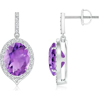 Angara Natural Amethyst Halo Vintage Stud Earrings in Platinum A2Iir