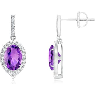 Angara Floating Square Amethyst and Diamond Halo Stud Earrings zcQl2