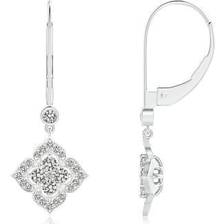 Angara Leverback Round Diamond Flower Dangle Earrings 9ERikASq4