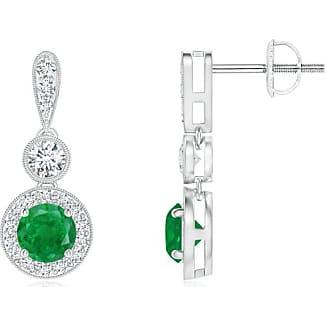 Angara Milgrain-Edged Emerald and Diamond Halo Dangle Earrings Wk5Z9