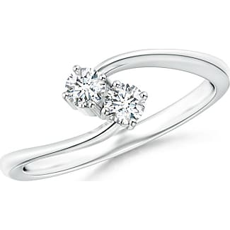 Angara Three Prong Set Twisted Two Stone Diamond Loop Earrings GLv3H