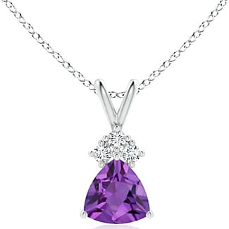 Angara Claw-Set Amethyst Drop Pendant with Trio Diamonds A2z6oZ