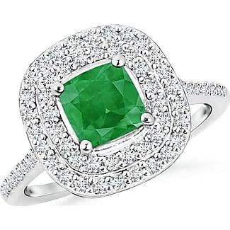 Angara Cushion Peridot and Diamond Halo Ring With Swirl Motifs 0RXlK