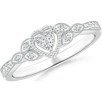 Angara Milgrain Petal Diamond Composite Heart Promise Ring h9pxR