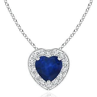 Angara Heart-Shaped Blue Sapphire Pendant with Diamond Halo nWl4PdmLeB