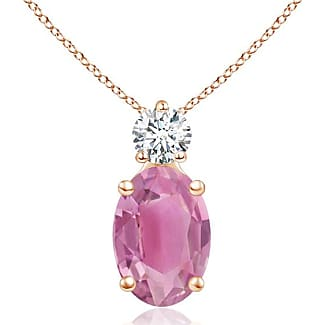 Angara Oval Pink Tourmaline Solitaire Pendant with Trio Diamond a51FOLh9U
