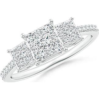 Angara Claw-Set Diamond Triple Square Cluster Engagement Ring XdOiOetGl
