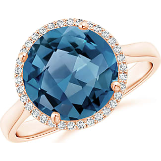 Angara Emerald-Cut London Blue Topaz Cocktail Ring with Diamond Accents 3LeFU