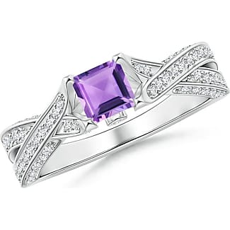 Angara Round Amethyst and Diamond Crossover Ring r5XMVXo3u
