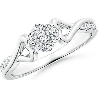 Angara Twisted Heart 2 Heart Diamond Cluster Halo Ring sX61L