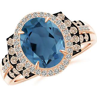 Angara Vintage Style London Blue Topaz Cocktail Ring with Diamond Halo yCd1ezbO