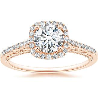 Angara Round Morganite Halo Ring with Cushion Milgrain Detailing ysxLZ