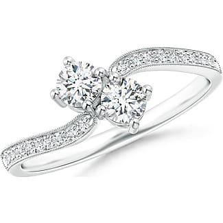 Angara Vintage Inspired Two Stone Diamond Bypass Ring JDhwVCqufy