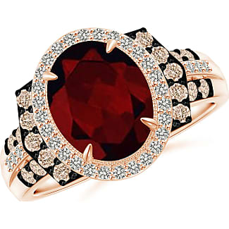 Angara Vintage Style Garnet Halo Cocktail Ring bYY292RR