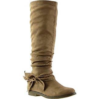 Angkorly - damen Schuhe Stiefel - Reitstiefel - Kavalier - Flexible - Knoten Blockabsatz 2 CM - Camel F2163 T 36 cvA8Y8