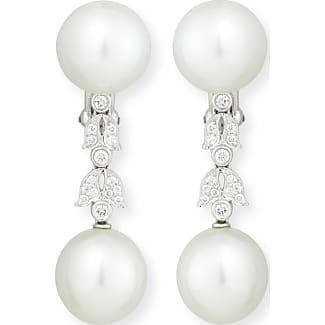 Assael Platinum South Sea Pearl & Single Diamond Drop Earrings PtPBltNWMw