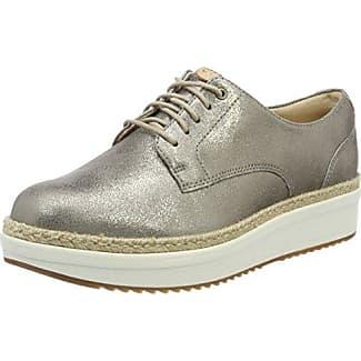 Clarks Funny Dream, Zapatos de Cordones Brogue para Mujer, Beige (Pewter Metallic), 38 EU