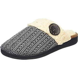 Dearfoams Knit Closed Toe Scuff with Memory Foam - Zapatillas Bajas para Mujer, Color Negro (Black 00001), Talla 40-41 EU (7-8 UK)