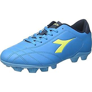 Diadora 6play Mdpu, Chaussures de Football Homme, Blanc Cassé (Bianco/Nero/Rosso Fluo), 42 EU