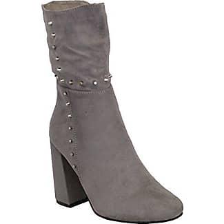 Damen Blockabsatz Chelsea Stiefel Damen Veloursleder Look Knöchel mit Nieten besetzt Schuhe Reißverschluss Winter - schwarz - my670, 8 UK / 41 EU Generic