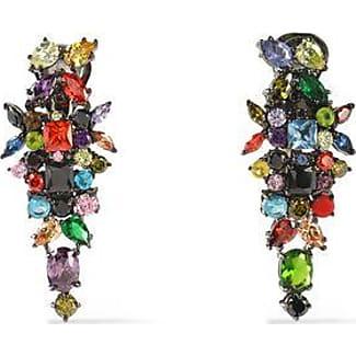 Iosselliani Iosselliani Woman Gunmetal-tone, Crystal And Stone Clip Earrings Multicolor Size