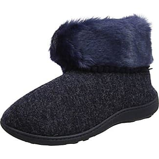 Isotoner Cable Knit Bootie Slippers, Zapatillas Altas para Mujer, Azul (Navy and Cream), 40 EU