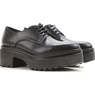 Zapatos con Cordones para Mujer, Oxfords, Zapatos Calados Baratos en Rebajas, Negro, Piel, 2017, 36 36.5 37 38 38.5 40 Tod's