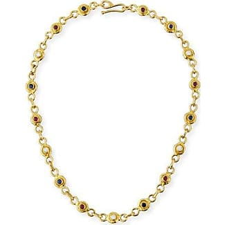 Jean Mahie 22K Gold Ruby & Emerald Station Necklace dp5B4cVw2