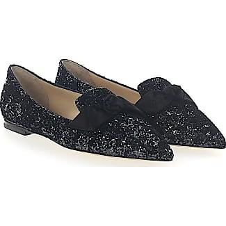 Ballerinas GABIE FLAT fabric glitter grey black loop Jimmy Choo London NEnTAd
