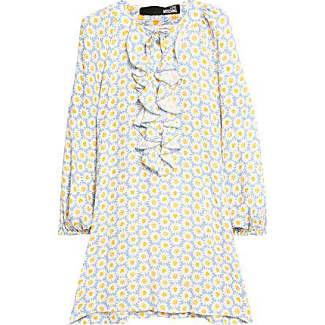 Love Moschino Woman Printed Ruffled Jersey Mini Dress Fuchsia Size 44 Love Moschino ZZfQr8KVP