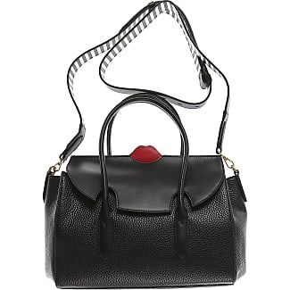 Tote Bag, Black, Leather, 2017, one size Lulu Guinness
