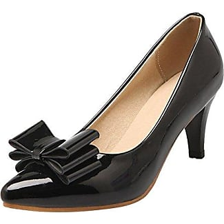 Damen chunky heel Pointed toe Lackleder Pumps (34, Schwarz) MissSaSa