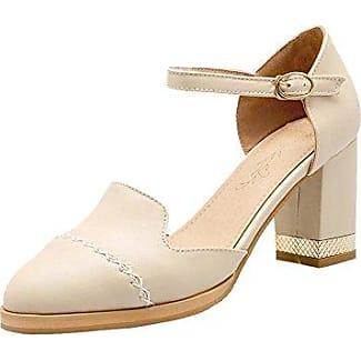 Damen Knöchelriemchen chunky heel Pointed toe Pumps (34, Grau) MissSaSa