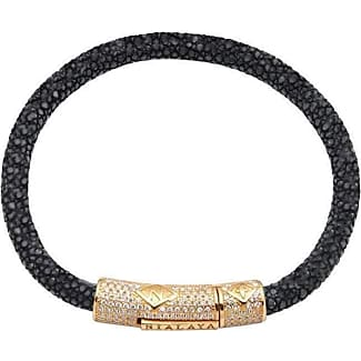 Nialaya Black Stingray Bracelet with Gold Lock - Extra Large CQFUiF7ds
