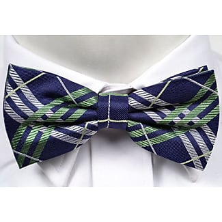 Tied bow tie from Tieroom, Notch RAFAEL, dark blue base & minimal dots in white Notch