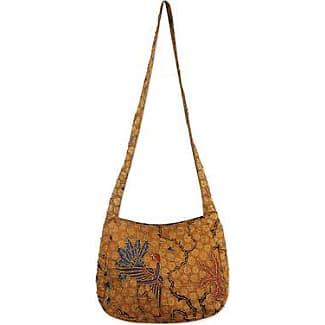 Novica Cotton batik shoulder bag, Savannah