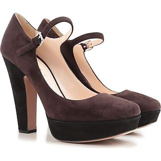 Zapatos de Tacón de Salón Baratos en Rebajas Outlet, Matiz Marrón, Piel, 2017, 36 Prada