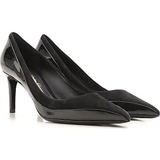 Zapatos de Tacón de Salón Baratos en Rebajas, Negro, Piel de Becerro, 2017, 37 39 Prada
