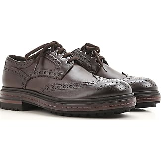 Lace Up Shoes for Men Oxfords, Derbies and Brogues On Sale, Bark brown, Leather, 2017, 6 Santoni
