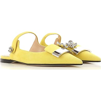 Sandals for Women On Sale, Citron Yellow, Leather, 2017, 4 4.5 Sergio Rossi