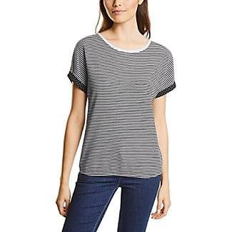 Street One Lace Mat Mix Shirt, Camiseta para Mujer, Negro (Black 10001), 36 (Talla del Fabricante: 34)