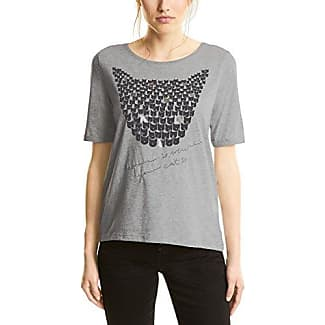 Street One Placement Print Shirt, Camiseta para Mujer, Grau (Cyber Grey Melange 30767), 46 (Talla del Fabricante: 44)