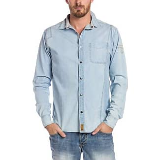 Denim - Camisa slim fit para hombre, talla 2XL, color azul (big indigo check) Timezone