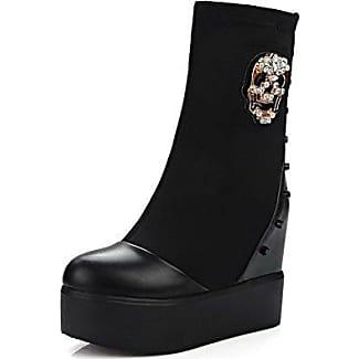AgooLar Damen Niedrig-Spitze Weiches Material Rund Zehe Stiefel mit Beschlagene Strass, Schwarz, 35
