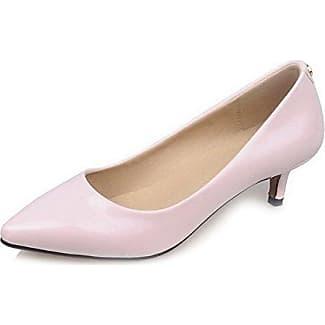 Damen Spitz Zehe Lackleder Eingelegt Ziehen auf Pumps Schuhe, Cremefarben, 43 AllhqFashion