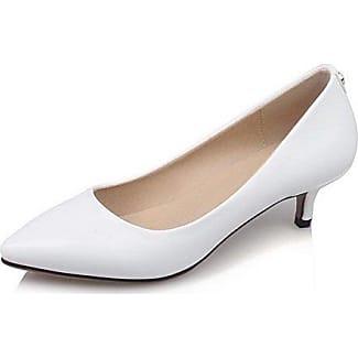 Damen Ziehen auf Niedriger Absatz PU Leder Rein Spitz Zehe Pumps Schuhe, Cremefarben, 33 VogueZone009